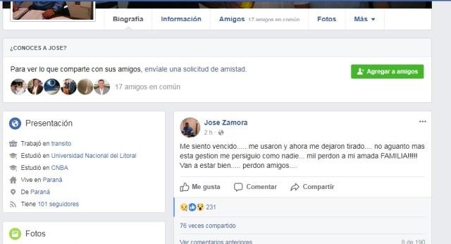 ¿Hubo instigación? Se suicidó el exconcejal y funcionario José Zamora