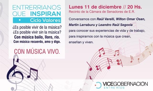 Ciclo Valores de la Vicegobernación: Destacados músicos entrerrianos compartirán experiencias en el recinto del Senado