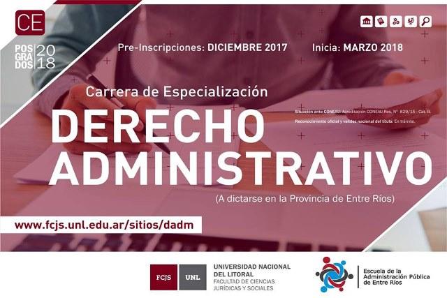 Se dictará la especialización en Derecho Administrativo para agentes públicos