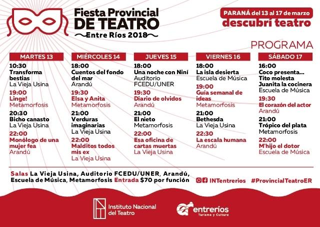 Acto de Apertura Fiesta Provincial de Teatro – Entre Ríos 2018