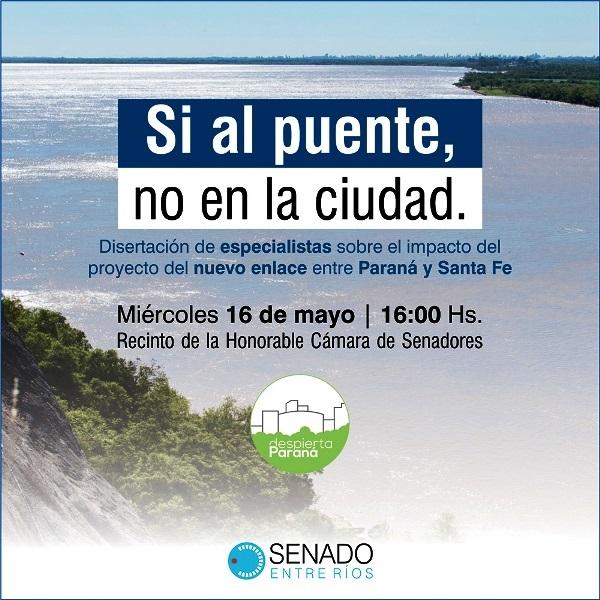 Especialistas expondrán en el recinto del Senado sobre el Puente Paraná-Santa Fe